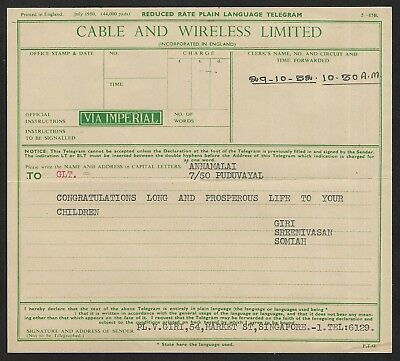 (111cents) Malaya Cable and Wireless Limited Telegraph mint