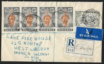 (111cents) Nigeria 1955 1d + 6d x 4 on Registered Cover ENUGU to USA