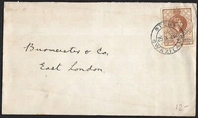 (111cents) Swaziland 1946 KGVI 2d revenue on Cover to East London
