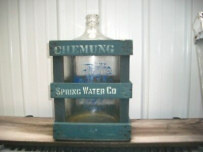 Antique Chemung Spring Water Bottle And Matching Wood Crate, New York