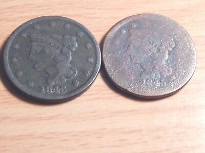 (2) US Large Cents Braided Hair Type 1843 & 1845 2 Coin Lot