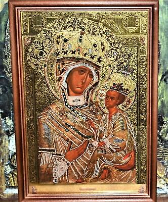 Mother of God Tikhvinskaya Russian Orthodox Icon high-quality Wood frame