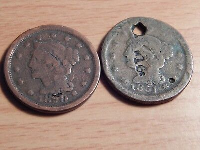 (2) US Large Cents Braided Hair Type 1850 & 1851 2 Coin Lot