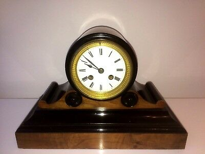 ANTIQUE 19thC FRENCH JAPY FRERES 8 DAY STRIKING WALNUT-EBONY MANTLE CLOCK W/O