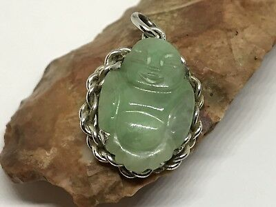 Vintage Sterling Silver Oval Chinese Jade Jadeite Buddha Small Charm Pendant