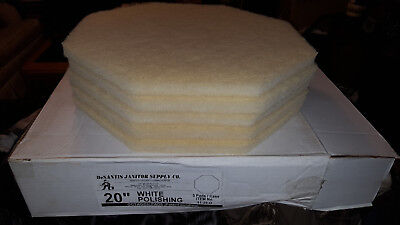 "White Octagon 20"" Floor Polishing Pads 5ct NEW in Box"