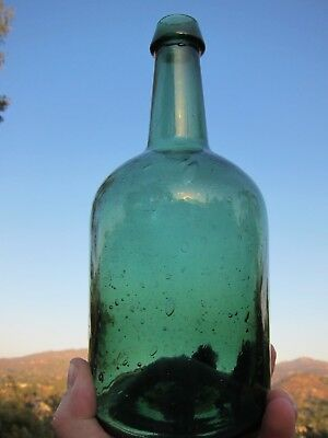 Lockport-Green Iron Pontiled Applied Top Squat Demijohn w/ Thousands of Bubbles!