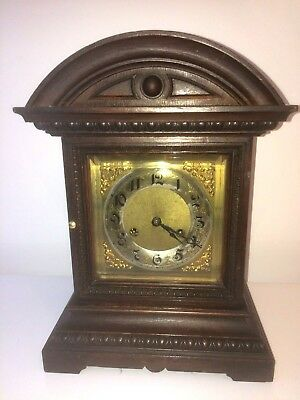 ANTIQUE 19th C JUNGHANS TWIN STRIKING OAK BRACKET CLOCK GOOD WORKING ORDER