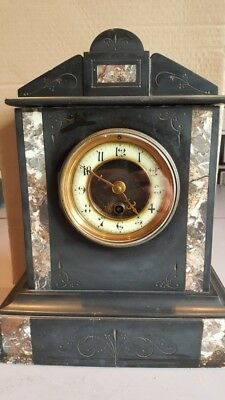ANTIQUE MARBLE SLATE TEMPLE CLOCK with FRENCH MOVEMENT and No6 KEY