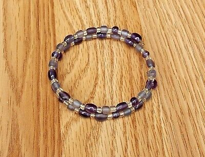 Handmade Purple & Silver Glass Bead Wrap Bangle Bracelet 8""