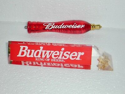 Vintage Budweiser Acrylic Beer Tap lot Handle 7.75 Inches & clear Red Bud Tap