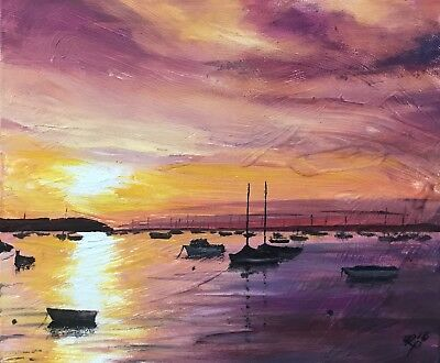 """'Sunset in Chrome Yellow', Oil on Canvas Panel, 12""""x10"""", 12/11/18,Rob Parkinson."""