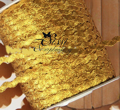 LOT 5M RUBAN GALON CROQUET RIC RAC SERPENTINE DORÉ GOLD FETE COUTURE SCRAP 1cm