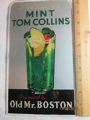 """old Mr. Boston Mint Tom Collins"" Glass Biolite Sign 3068A  8-8   1940-60"