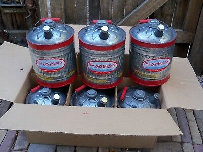 Vtg Delphos 2 Gal Galvanized Utility / Gas Old Ironsides Can Red No.122 SIX NOS