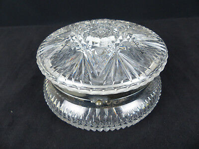 "Fine Antique Pairpoint ABP Brilliant Cut Glass Round 6"" Dresser Jewelry Box"
