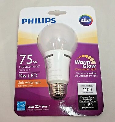 Phillips 75w Replacement A21 Warm Glow Soft White Dimmable LED Bulb CHOOSE QTY