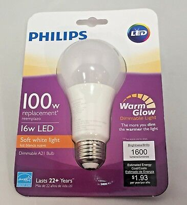 Phillips 100W Replacement A21 Warm Glow Soft White Dimmable LED Bulb CHOOSE QTY