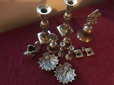 Job Lot Of Vintage Brass Ware. Candle Sticks. Bell. Dishes . Plus More