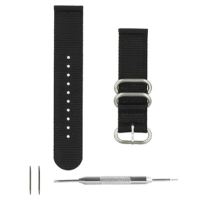 4e98a804b26 Benchmark Basics Black Nylon 2pc Zulu-Style Watchband + Tool (20   22mm)