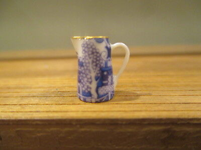Dollhouse Miniatures~ Half Scale Decorated Blue Willow Pitcher ~ Sam Dunlap