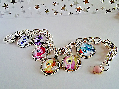 My Little Pony All 6 Pony Charms Silver Bracelet,Bangle Age 6 To 9 Year,Gift Box