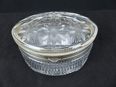 """Antique Pairpoint 6"""" Oval ABP Brilliant Floral Cut Glass Dresser Jewelry Box"""