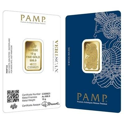 Lot of 2 - 10 gram Gold Bar PAMP Suisse Lady Fortuna Veriscan (In Assay)