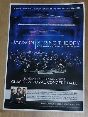 Hanson - String Theory with live orchestra - Glasgow feb.2019 concert gig poster