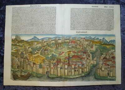Constantinople Turkey Big Coloured Woodcut View Schedel World Chronicle #c069