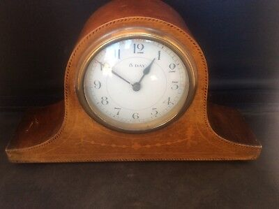 Antique Victorian c19th Japy Frères French Inlaid Wooden 8 day Mantle clock 1895