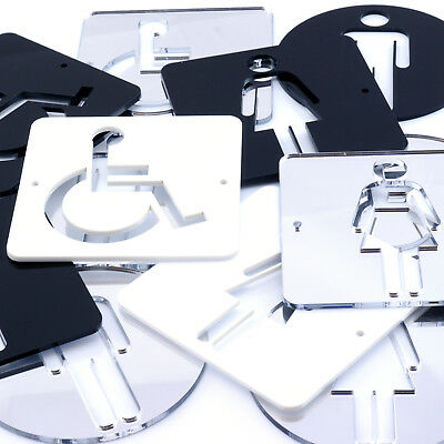 Toilet Sign Male Female Disabled Gents Ladies Acrylic Mirror Black White Sign