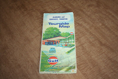 Vintage Gulf Tourguide Gas Station Map Of Alabama Kentucky Tennessee See Pix!!
