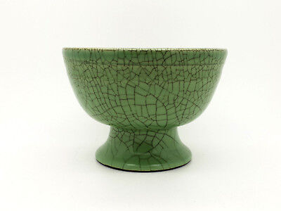 Vintage Antique Chinese Celadon Green Crackle Glazed Pottery Bowl