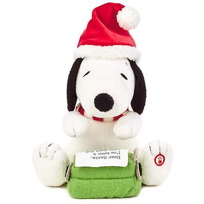 Peanuts Snoopy's Writing Letter to Santa Stuffed Animal With Sound and Motion