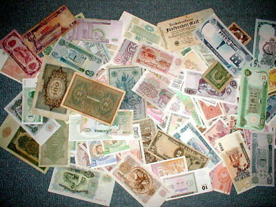 Huge Estate Sale Of Mixed World Currency Paper Money Over 100 Notes Free Shipp!