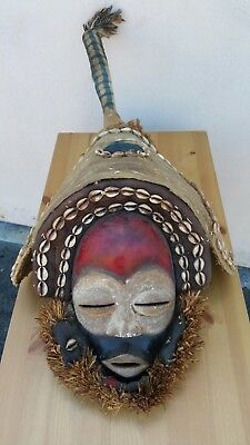 African wood Dan Deangle Mask with headdress. Lovely mask.