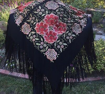 Vintage Silk Piano Shawl, Embroidered