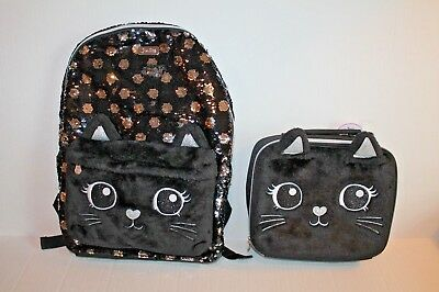 Justice Girl's Black Cat Flip Sequin Backpack & Lunch Box Tote Set NEW