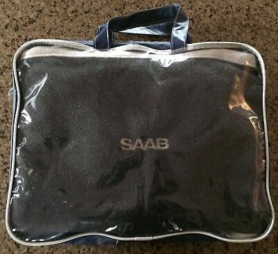SAAB Fleece Car Blanket Folds into Pouch for Pillow w/ Plastic Zippered Pouch