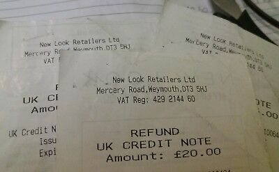 NEW LOOK credit notes vouchers with combined balance of £53 recorded post only