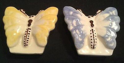 Pair Vintage Ceramic Yellow & Blue Butterfly Wall Pockets