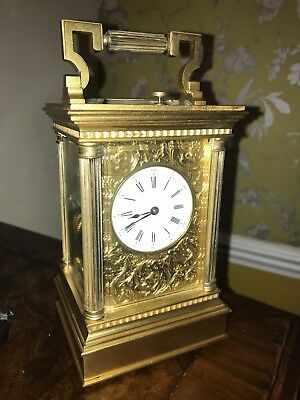 Fine Quality Brunelot Of Paris repeater carriage clock With Engraved Dial