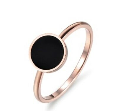 Vintage Wedding Ring  Rose Gold Color Round Acrylic Stone 316L Stainless Steel