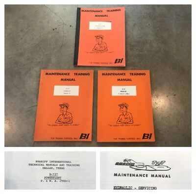 VTG Lot 3 Braniff International Airlines Maintenance Training Manual B-727 Pilot