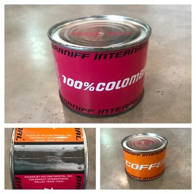 VTG Braniff International Airlines 100% Columbian Coffee Tins NOS Pilot Souvenir