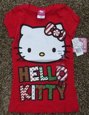 Girls HELLO KITTY Christmas Holiday SS Tee Glitter Red White Green NWT