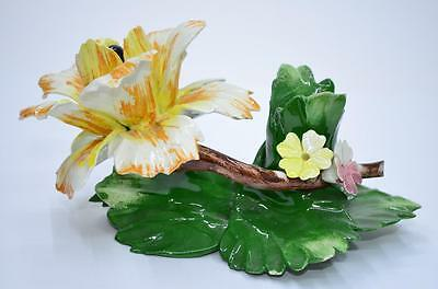 Capodimonte Porcelain Multi Colored Rose Flower Candle Holder Made In Italy