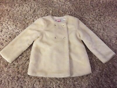 Girls faux fur cream jacket in age 3-4 years from Cool Candy (Coleen Rooney)