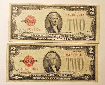 2-- 1928 G  Two Dollar Red Seal United States Notes....  Combine Shipping